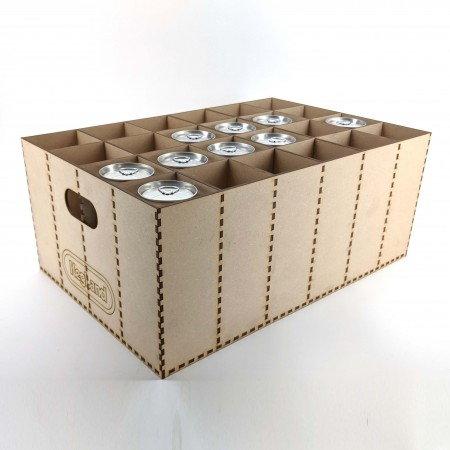 24 Can (or bottle) crate, aluminium can storage for your cellar. Cannular Canning Machine, home brew storage