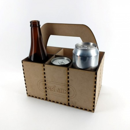 This 6 pack holder comes flat packed. Great for taking your beers to a party or BBQ.  Fits cans or bottles of various different sizes.  Has a crafty laser cut look